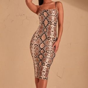 Prettylittlething reptile stretchy dress- Size 8